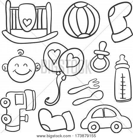 Doodle of baby style vector illustration collection stock