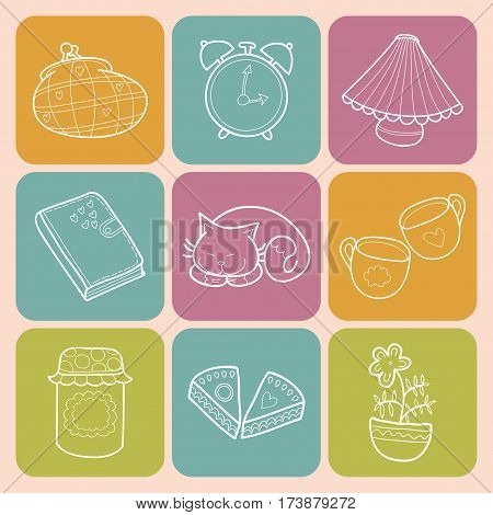 Vector set Sweet Home with design home elements, cute cat, cups of coffee, cake, jam, alarm clocks and diary