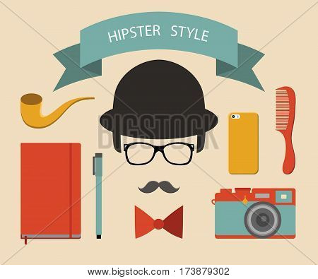 Vector set of hipster elements in flat style. Hipster vintage collection with vintage camera, mobile phone, notebook, comb, bow, pen, ribbon, mustache etc.