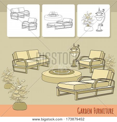 Vector illustration of hand drawn lounge chairs, lantern,  fountain and flowers in pot. Garden accessory on beige  background. Landscape design. Summer backyard with outdoor furniture. Rest area.