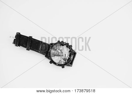 Stop The Time Concept. Crashed Watches Isolstop The Time Concept. Crashed Watches Isolated On White.