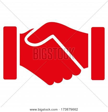 Acquisition Handshake vector icon. Flat red symbol. Pictogram is isolated on a white background. Designed for web and software interfaces.