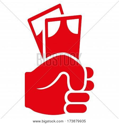 Banknotes Salary Hand vector icon. Flat red symbol. Pictogram is isolated on a white background. Designed for web and software interfaces.