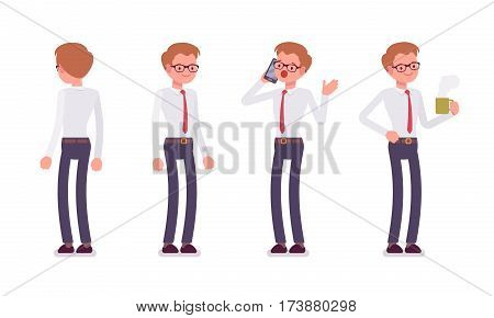Set of young smiling male busy clerk in a smart formal wear, standing poses, talking on phone in trouble, holding hot coffee mug, full length, front and rear view isolated against white background