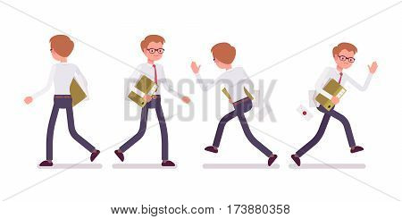 Set of young happy and unhappy male busy clerk in smart formal wear, walking and runnig poses, having workload, delivering documents, full length, front and rear view isolated against white background