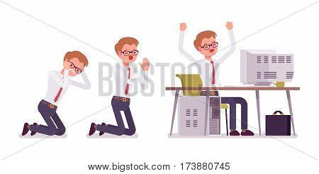 Office scenes with busy male clerk in smart formal wear, happy and sad, praying on knees, frustrated, sitting and working at the computer, completed a task, full length, isolated, white background