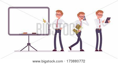 Set of young smiling male office clerk in a formal wear, standing near empty whiteboard, walking, talking on phone, copyspace, presentation of information, full length, isolated, white background