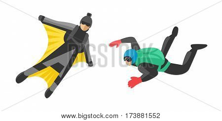 Skydiver man jumper and professional speed skydiver man. Skydiver lifestyle with green parachute back. parachutist foreground extreme sport freedom concept skydiver flat character vector.