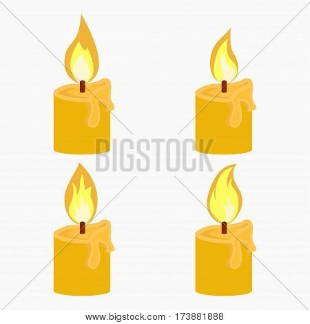 Candle with fire animation on white background Flame vector illustration