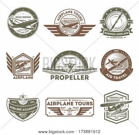 Airplane vintage isolated label set vector illustration. Wind riders show and best pilot symbols. Airplane academy and flying club sign. Air travel and plane tours logo. Propeller aircrafts concept poster