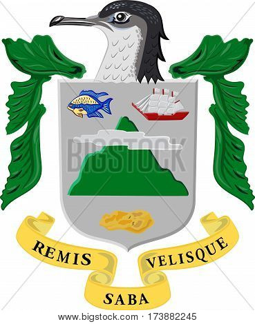 Coat of arms of Saba is a Caribbean island and the smallest special municipality of the Netherlands. Vector illustration