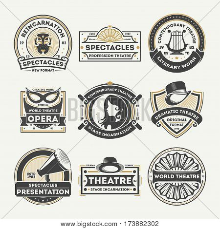Dramatic theatre isolated label set vector illustration. Spectacle reincarnation and dramatic presentation symbol, literary work icon, professional opera stage logo. World theatre badge collection.