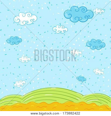 Nature summer landscape in cartoon style vector illustration. Spring season country landscape with green meadow and blue clouds in sky. Lovely rural nature, green hill or field image.