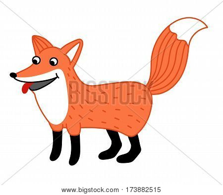 Cute little fox hand drawn isolated on white background vector. Funny comic animal mascot, happy and smiling red fox, wildlife and zoo animal. Friendly fox standing. Cartoon fox character. Funny and smiling fox. Vector fox.