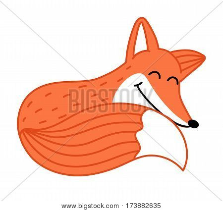 Cute little fox hand drawn isolated on white background vector. Funny comic animal mascot, happy and smiling red fox, wildlife and zoo animal. Friendly fox sleeping. Cartoon fox character. Funny and smiling fox. Vector fox.