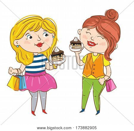 Happy girl cartoon characters isolated on white background vector illustration. Two girlfriends with package and cake having fun, smiling and chatting, happy people. Hand drawn funny girl shopping.