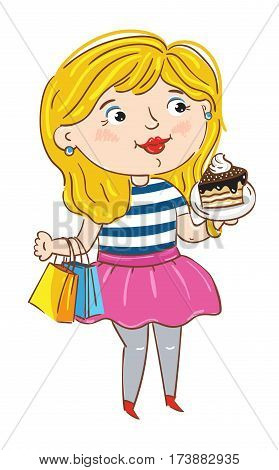 Happy young girl cartoon character isolated on white vector illustration. Cute young woman with package and cake standing and smiling, shopping active girl, happy people. Hand drawn funny young girl.