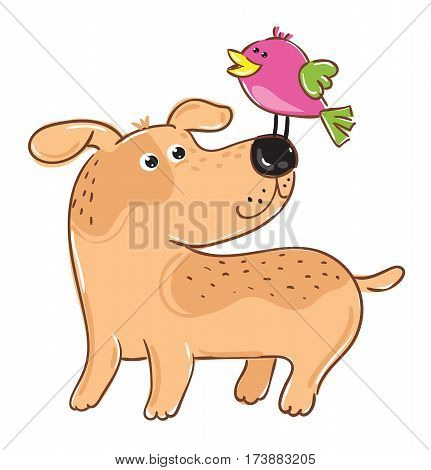 Dog with bird cartoon character isolated on white background vector illustration. Funny comic animal mascot, cute friendly pets design for petshop. Hand drawn colorful dog and bird artwork.