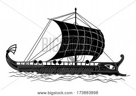 Ancient Greek ship with oars and sails on the sea waves.