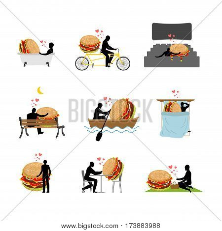 Lover Fast Food. Set. Man And Hamburger  In Movie Theater. Lovers In Bath. Romantic Rendezvous. Boat