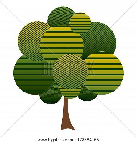colorful leafy tree plant with abstract lines vector illustration