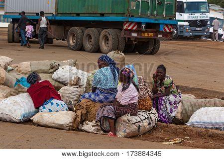 Nairobi Kenya - 07 Januar 2013 women sit on sacks people in Kenya
