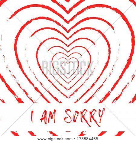 I am sorry blood heart grunge style background,vector Illustration EPS10