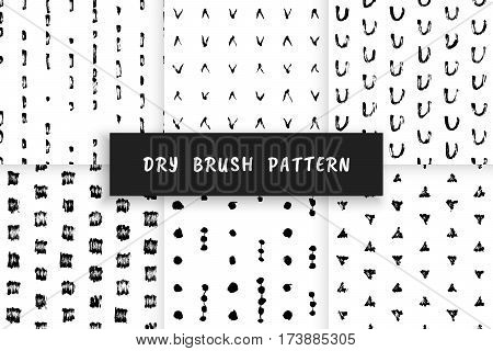 Set Hand-drawn grunge pattern with a dry brush. Pattern made of geometric shapes, strokes and spots. Vector background can be used in printing, fabric, packaging, fashion, wraping.