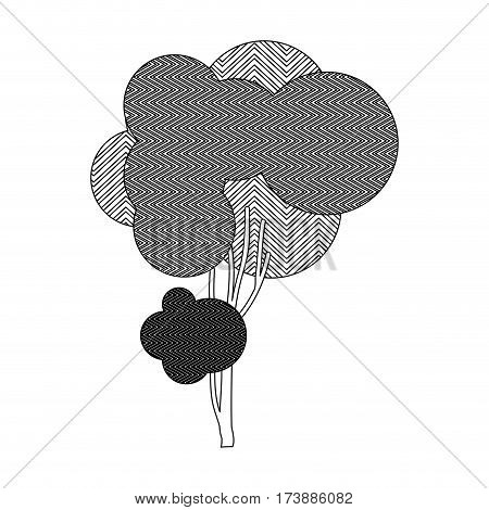 monochrome silhouette little leafy tree with wave lines vector illustration