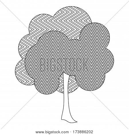 monochrome silhouette leafy tree with zig zag lines vector illustration