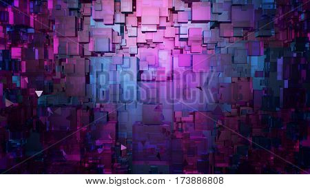 Abstract digitalpink and blue architecture background. Computer science information technology background. 3D illustration