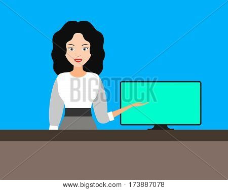 beautiful young girl points to the computer monitor. business sale paperwork reception registration booking. vector illustration.