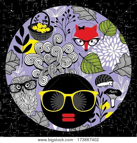 Abstract portrait of dark skin woman in hipster sunglasses. Vector illustration.