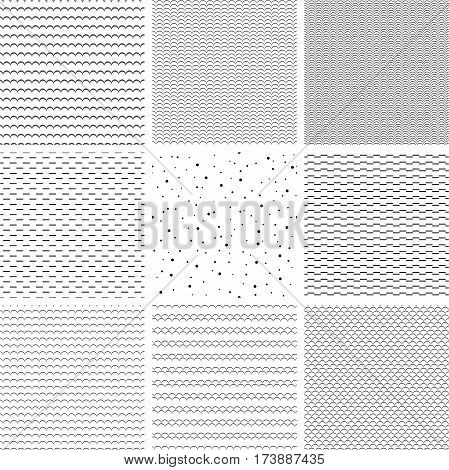 Set Of Geometric Line Monochrome Abstract Seamless Pattern With Wave, Strip And Dot