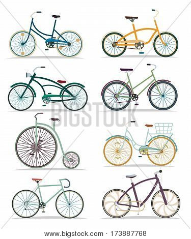 Bicycle set isolated vector illustration in flat. Different bike collection. Street bicylce, mountain, fast road and old retro style bicycles. Sport and everyday eco friendly transport. Bike for man and woman. Bicycle icon collection. Flat bicycle sign.