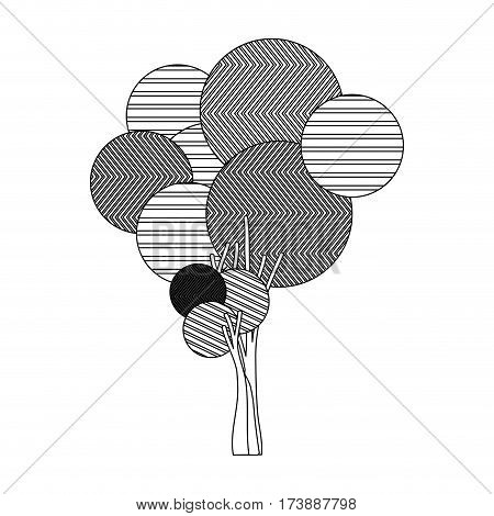 monochrome silhouette high tree plant with abstract lines vector illustration