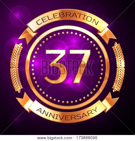 Thirty seven years anniversary celebration with golden ring and ribbon on purple background.