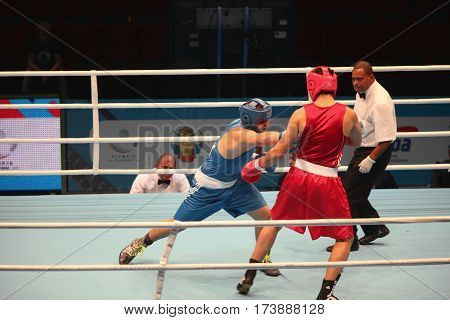 St. Petersburg Russia November 23 2016 Youth World Boxing Championship men ring boxing match fist punch boxing battle