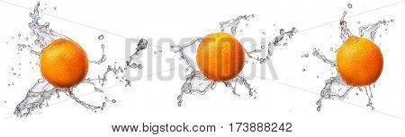 Water splash and fruits isolated on white backgroud. Fresh orange
