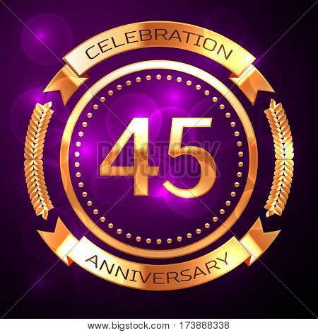 Forty five years anniversary celebration with golden ring and ribbon on purple background.