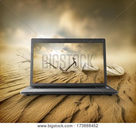 Desert on the monitor of a portative notebook