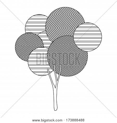 monochrome silhouette high leafy tree plant with abstract lines and ramifications vector illustration