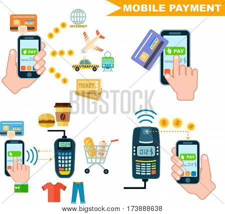 Mobile payment set isolated vector illustration. POS terminal confirm, NFC payment, money transferring via smartphone app, online banking and shopping, e-commerce. Mobile payment service collection.