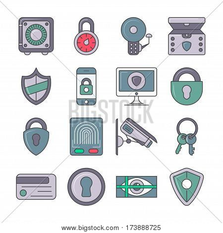 Protection and security icon set isolated vector illustration. Smartphone lock, video monitoring, safe, retina and fingerprint scan. Business protection, security information, identity verification
