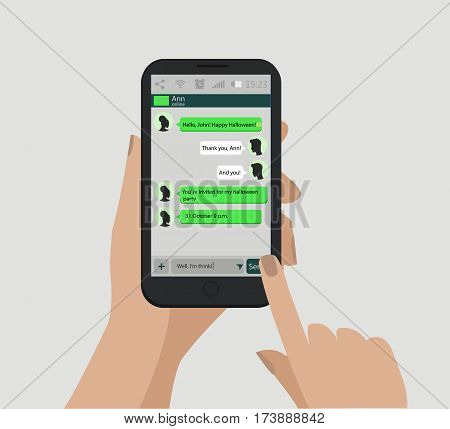 Hands holding smart phone. Social network concept. Vector. Messenger window. Chating and messaging concept.