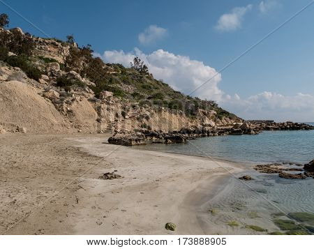 Along the sea coast of Konnos bay Konnos beach one of the most beautiful beaches in Europe near by Ayia (Agia) Napa Mediterranean resort at the far eastern end of the southern coast of Cyprus.