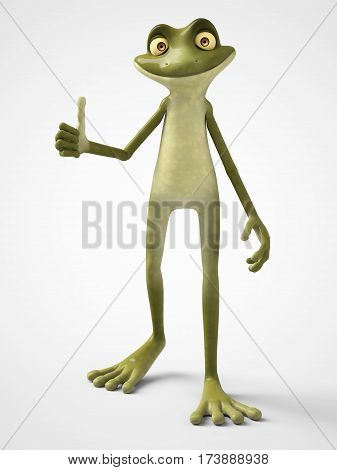 3D rendering of a smiling cartoon frog doing a thumbs up with his hand. White background.
