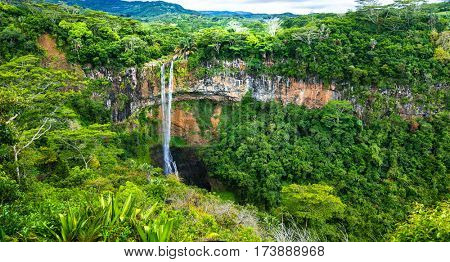 Beautiful waterfall in National park of Mauritius Chamarel