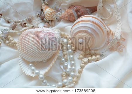 vintage necklace of pearls and shells,women's accessories