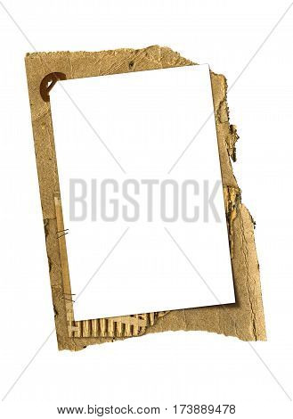 a grunge cardboard frame isolated on white background